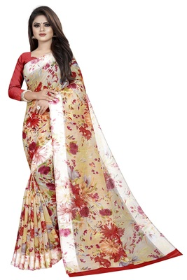 Red Linen Floral Printed Saree With Blouse Piece.