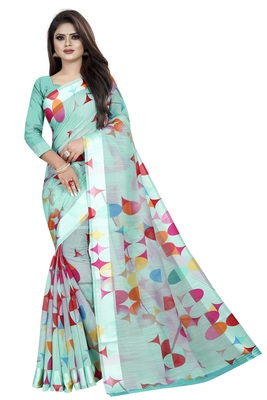 Sky Blue Linen Floral Printed saree With Weaving Lace and Blouse Piece.