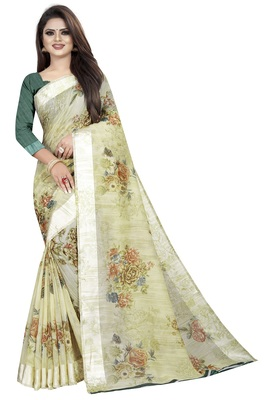 Ligth Green Linen Floral Printed Blouse Saree With Blouse Piece.