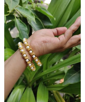 white pearl gold plated bangles