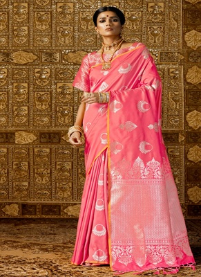 Coral woven silk blend saree with blouse