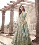 Buy Green embroidered net salwar