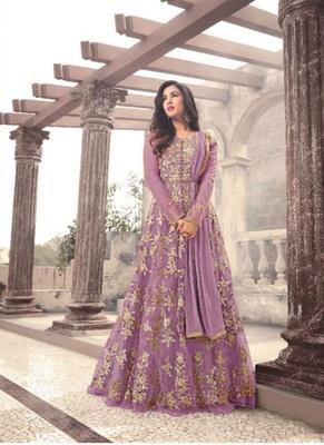Purple embroidered net salwar