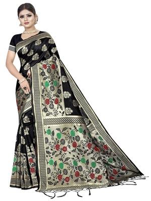 Black Banarasi Woven Silk Saree With Blouse Piece.