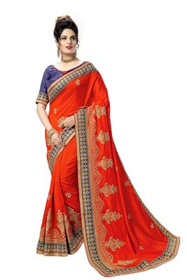 red embroidered art silk saree with blouse