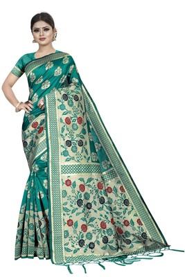 Rama Green Jacquard Woven Silk Saree With Blouse Piece.