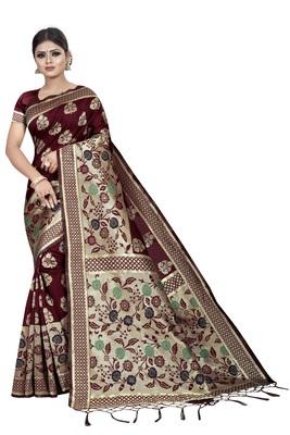Maroon Banarasi Woven Silk Jacquard Saree With Blouse Piece.