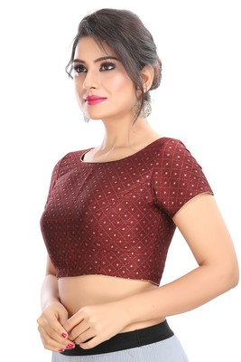 MAROON EMBROIDERED RAW SILK PADDED READYMADE DESIGNER SAREE BLOUSE