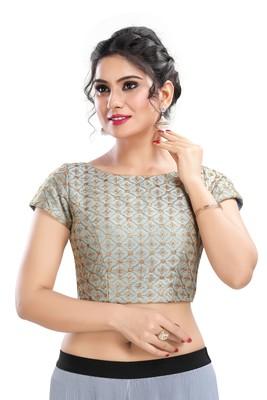 Grey Embroidered Silk Designer Readymade Designer Saree Blouse
