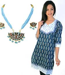 Buy Exclusive Brocade Blue Cotton Kurti Mothers Day gifts-for-mom online