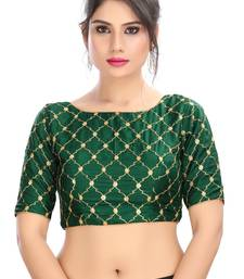 BOTTLE GREEN EMBROIDERED SILK  DESIGNER SAREE BLOUSE