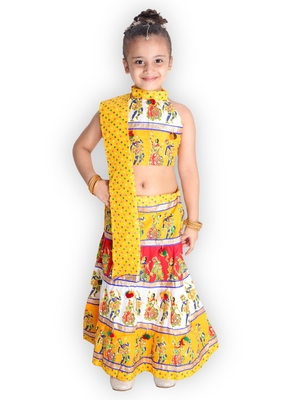 yellow embroidered mirror work navratri traditional lehenga choli