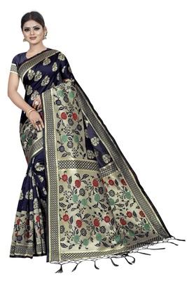 Navy Blue Jacquard Silk Woven banarasi Saree With Blouse Piece.