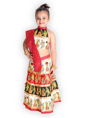 red embroidered mirror work navratri traditional lehenga choli