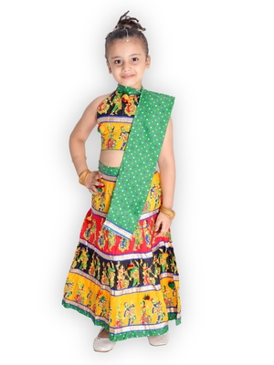 green embroidered mirror work navratri traditional lehenga choli