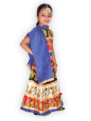 blue embroidered mirror work navratri traditional lehenga choli