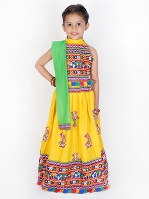 yellow embroidered mirror work navratri traditional lehenga choli