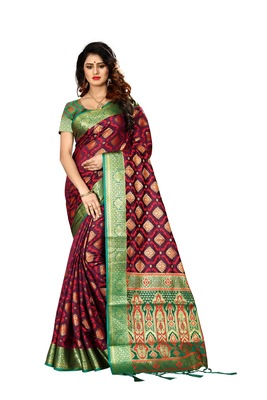 Maroon woven art silk sarees saree with blouse