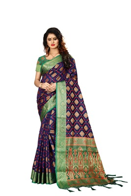 Navy blue woven art silk sarees saree with blouse