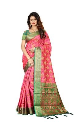 Pink woven art silk sarees saree with blouse