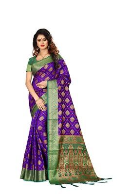Purple woven art silk sarees saree with blouse