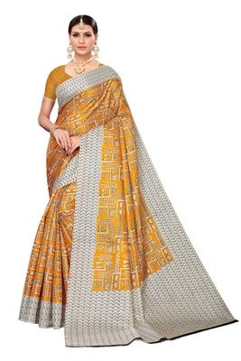Mustard printed art silk saree with blouse
