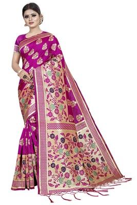 Pink Jacquard Woven Silk banarasi Saree With Blouse Piece.