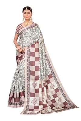 Cream printed art silk saree with blouse