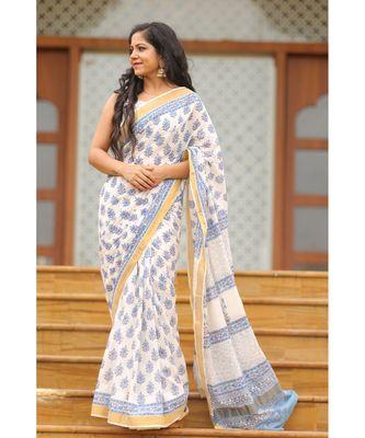 white floral_print cotton saree