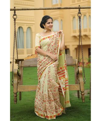 yellow floral_print chanderi_silk saree