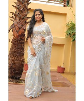 grey floral_print chiffon saree