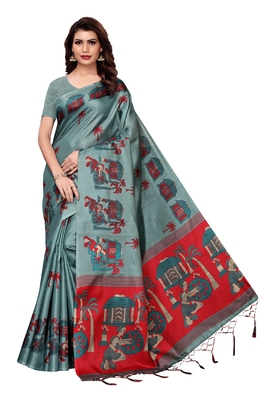 Sea green printed art silk saree with blouse