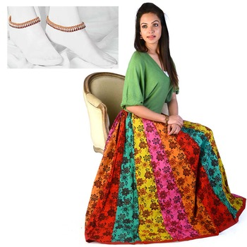 Floral Design Pure Cotton Lehnga Skirt Mother Day