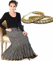 Buy Fine Zari Black White Cotton Skirt Mothers Day gifts-for-mom online