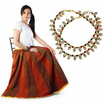 Ethnic Red Black Cotton Lehanga Skirt Mothers Day