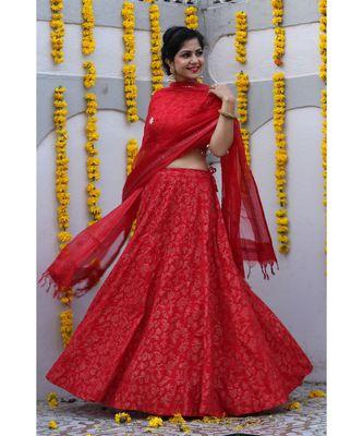 Red Cotton Lehenga Choli Set