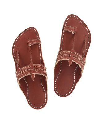 Red Brown Mens Leather Chappal