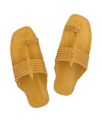 Dark Yellow Mens Leather Chappal