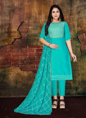 turquoise embroidered art silk unstitched salwar with dupatta