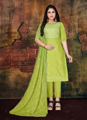 green embroidered art silk unstitched salwar with dupatta