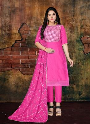 magenta embroidered art silk unstitched salwar with dupatta