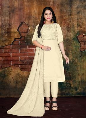 cream embroidered art silk unstitched salwar with dupatta