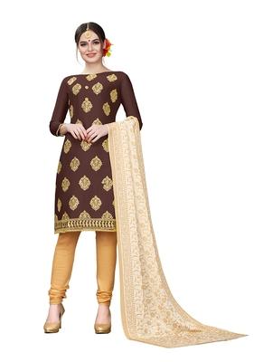 brown embroidered cotton unstitched salwar with dupatta