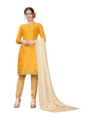 mustard embroidered cotton unstitched salwar with dupatta