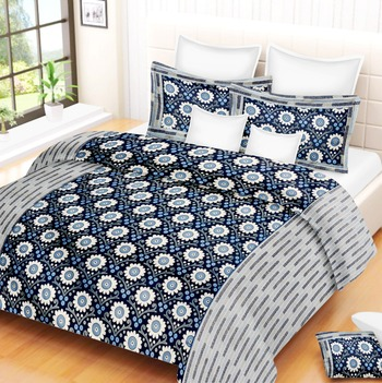 multicolor jaipuri Printed Double Bedsheet With Two pillow Covers (93*108)