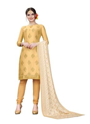 cream embroidered cotton unstitched salwar with dupatta