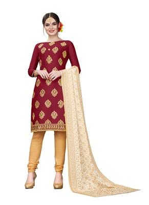 maroon embroidered cotton unstitched salwar with dupatta