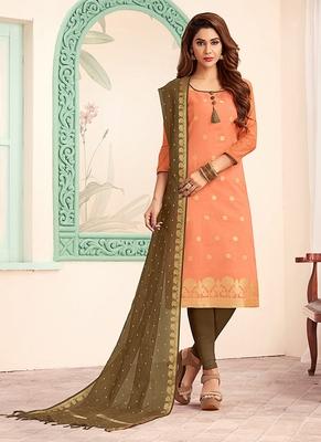 peach embroidered art silk unstitched salwar with dupatta
