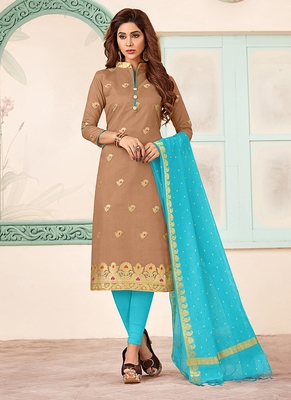 brown embroidered art silk unstitched salwar with dupatta