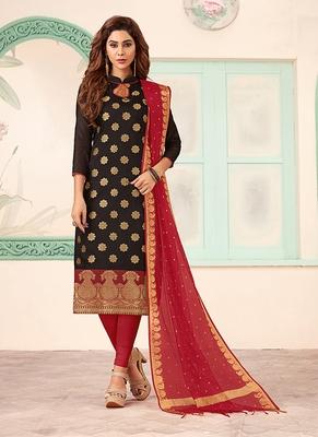 black embroidered art silk unstitched salwar with dupatta